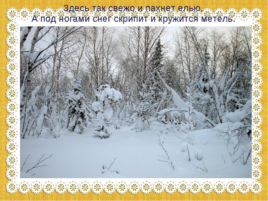 Здесь так свежо и пахнет елью, А под ногами снег скрипит и кружится метель.