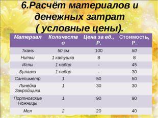 6.Расчёт материалов и денежных затрат ( условные цены). МатериалКоличествоЦ
