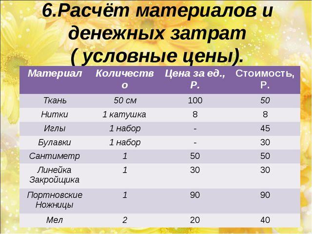 6.Расчёт материалов и денежных затрат ( условные цены). МатериалКоличествоЦ...