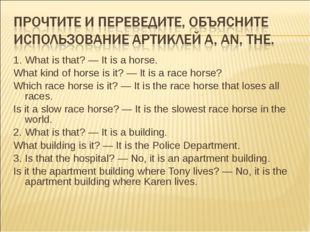 1.	What is that? — It is a horse. What kind of horse is it? — It is a race ho