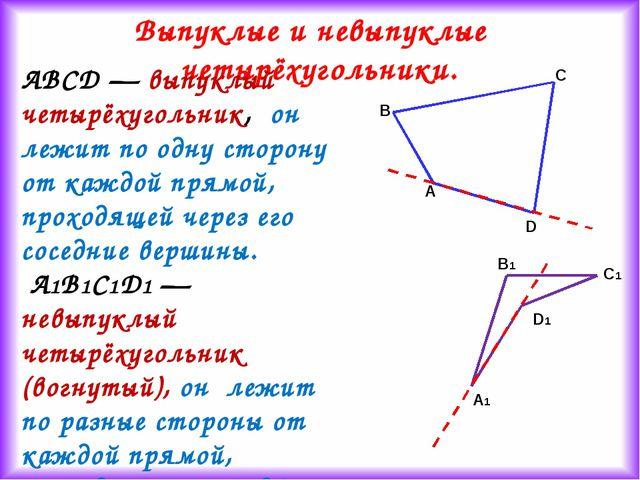 Выпуклые и невыпуклые четырёхугольники. ABCD — выпуклый четырёхугольник, он л...