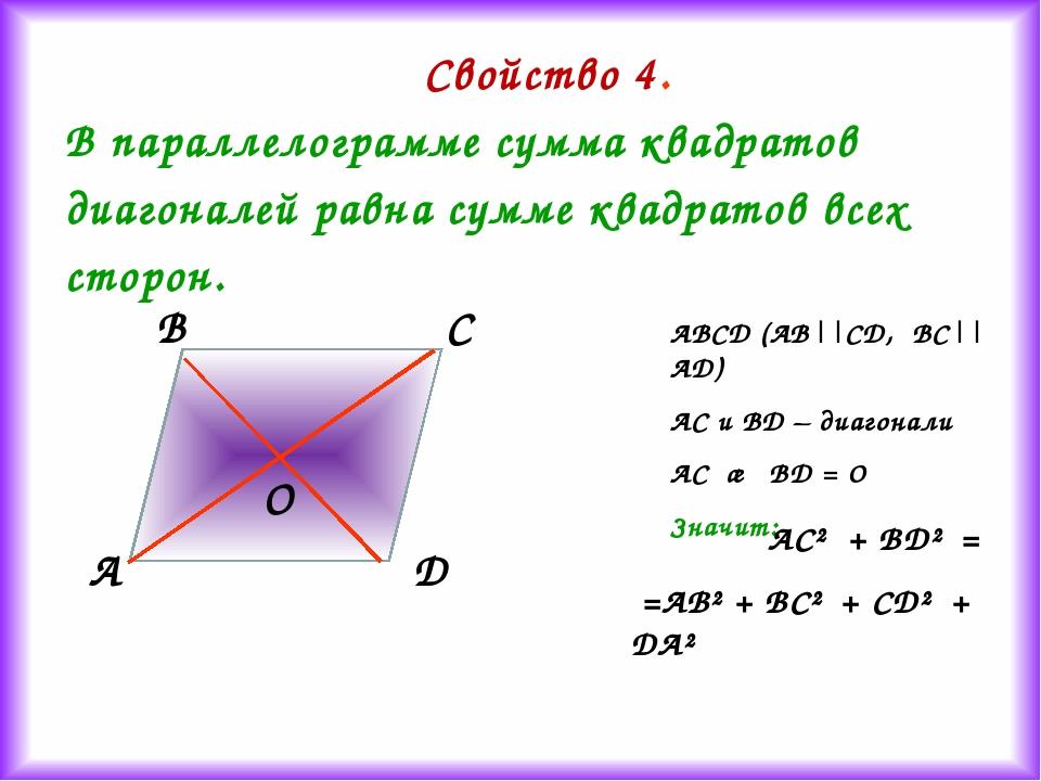 Свойство 4. В параллелограмме сумма квадратов диагоналей равна сумме квадрато...