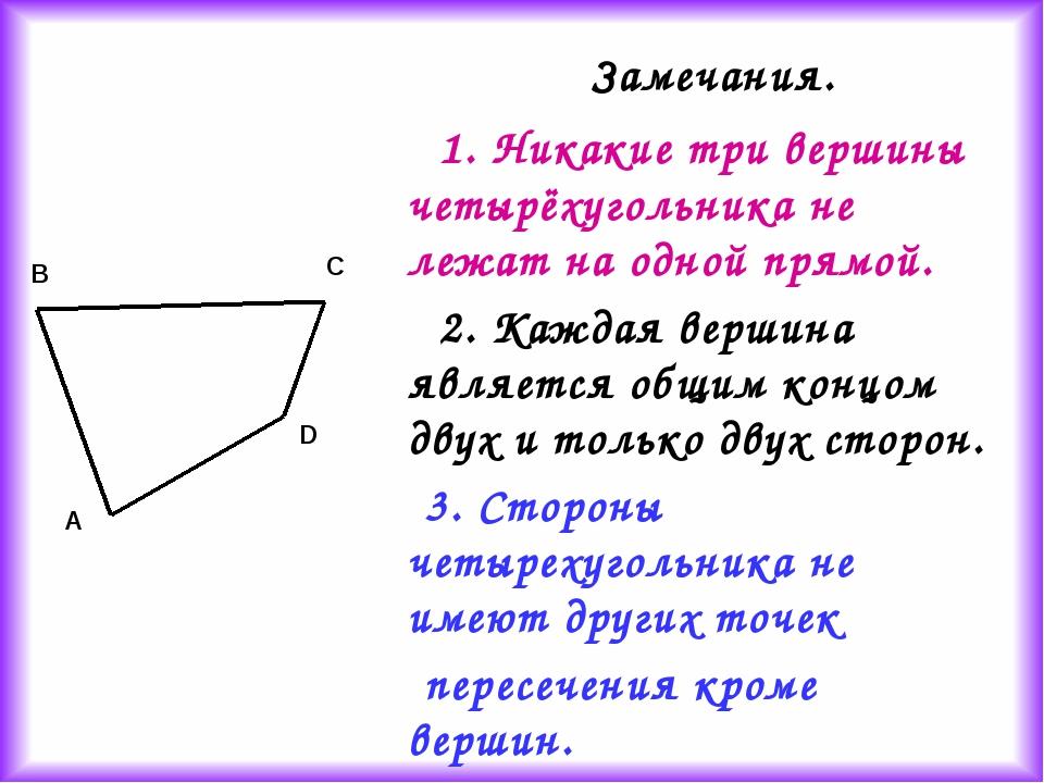 1. Никакие три вершины четырёхугольника не лежат на одной прямой. 2. Каждая...