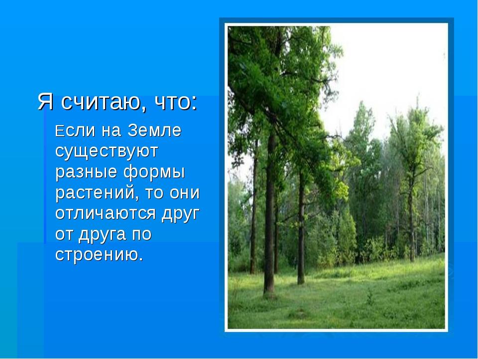 Я считаю, что: Если на Земле существуют разные формы растений, то они отличаю...