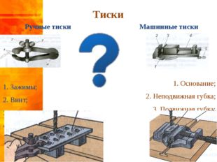 Ручные тиски 1. Зажимы; 2. Винт; 3. Гайка; 4. Ось Машинные тиски 1. Основани