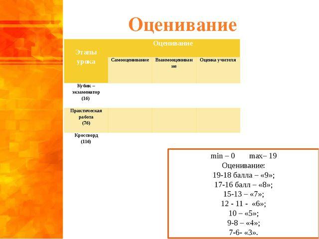 Оценивание min – 0 max– 19 Оценивание: 19-18 балла – «9»; 17-16 балл – «8»; 1...