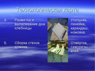 Технологическая карта 4.Разметка и выпиливание дна хлебницыУгольник, линей