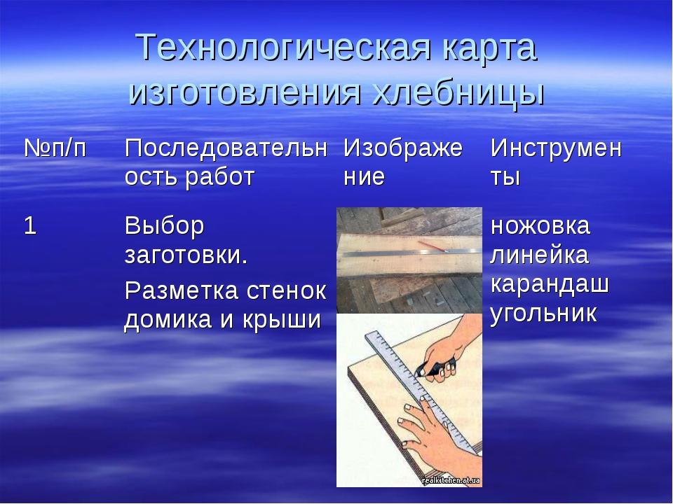 Технологическая карта изготовления хлебницы №п/пПоследовательность работИзо...