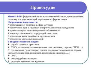 Правосудие Минюст РФ - федеральный орган исполнительной власти, проводящий го
