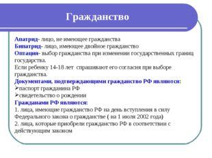 Гражданство Апатрид- лицо, не имеющее гражданства Бипатрид- лицо, имеющее дво