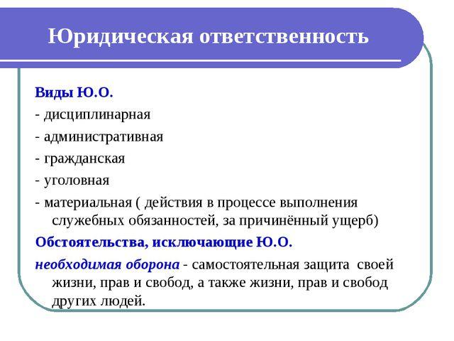 Юридическая ответственность Виды Ю.О. - дисциплинарная - административная - г...