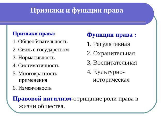 Признаки и функции права Признаки права: 1. Общеобязательность 2. Связь с го...