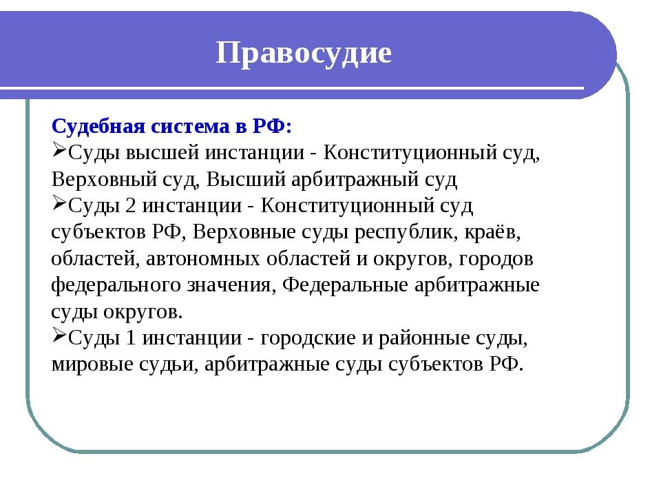 Правосудие Судебная система в РФ: Суды высшей инстанции - Конституционный суд...