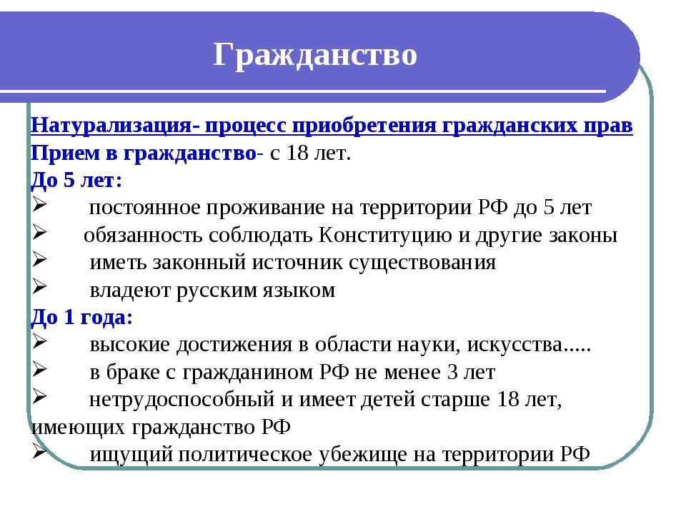 Гражданство Натурализация- процесс приобретения гражданских прав Прием в граж...
