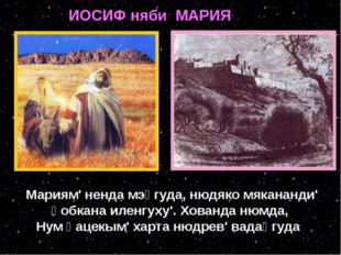 ИОСИФ няби МАРИЯ Мариям' ненда мэӈгуда, нюдяко мякананди' ӈобкана иленгуху'.