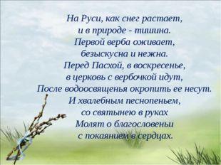 На Руси, как снег растает, и в природе - тишина. Первой верба оживает, безыск