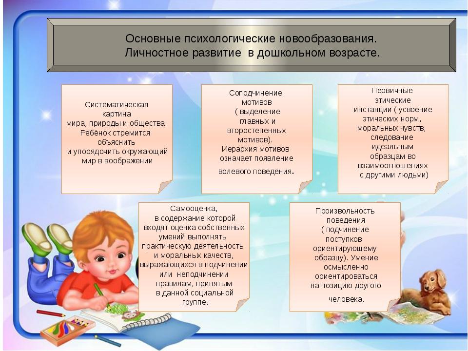 Основные психологические новообразования. Личностное развитие в дошкольном в...