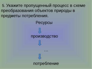5. Укажите пропущенный процесс в схеме преобразования объектов природы в пре