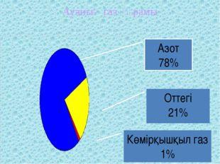 Азот 78% Көмірқышқыл газ 1% Оттегі 21% Ауаның газ құрамы