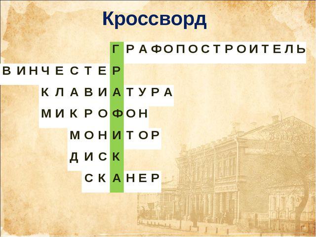 Кроссворд ГРАФОПОСТРОИТЕЛЬ ВИНЧЕСТЕР КЛАВИА...