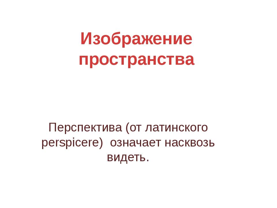 Изображение пространства Перспектива (от латинского perspicere) означает наск...
