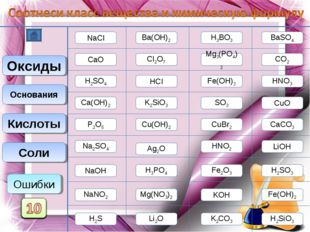 NaCl CaCO3 BaSO4 Mg3(PO4)2 Mg(NO3)2 Na2SO4 Соли NaNO2 CuBr2 K2SiO3 Оксиды СaО