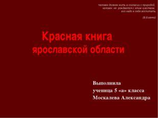 Красная книга ярославской области Выполнила ученица 5 «а» класса Москалева Ал