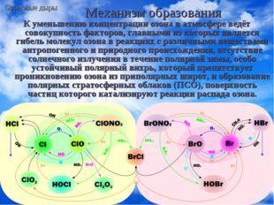 Механизм образования К уменьшению концентрации озона в атмосфере ведёт совоку