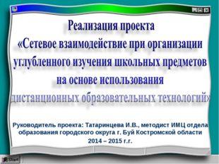 Руководитель проекта: Татаринцева И.В., методист ИМЦ отдела образования город