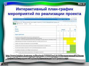 Интерактивный план-график мероприятий по реализации проекта