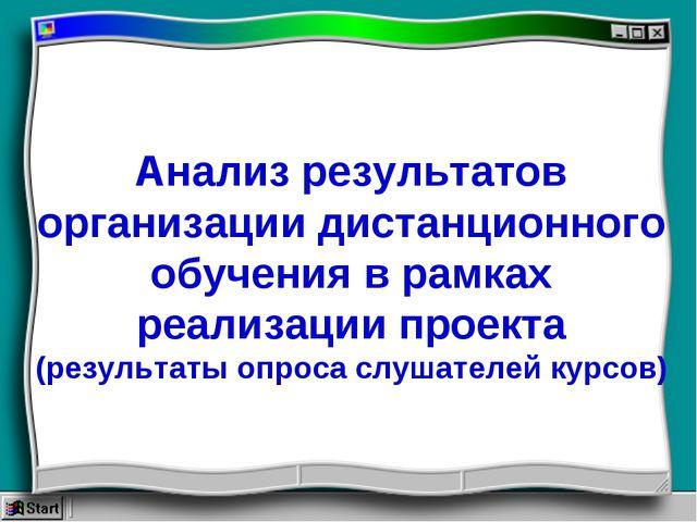 Анализ результатов организации дистанционного обучения в рамках реализации пр...