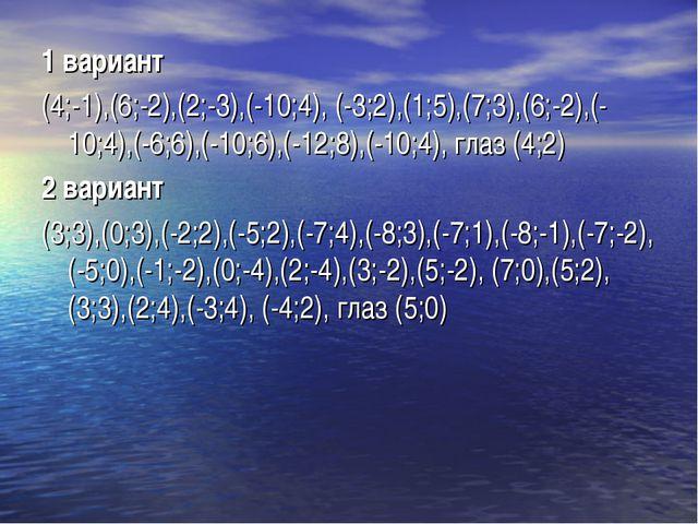 1 вариант (4;-1),(6;-2),(2;-3),(-10;4), (-3;2),(1;5),(7;3),(6;-2),(-10;4),(-6...