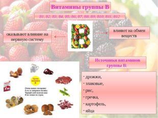 дрожжи, злаковые, рис, гречка, картофель, яйца Витамины группы В В1, В2, В3,