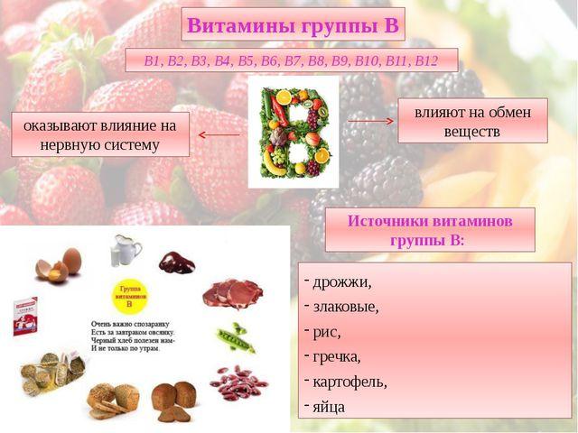 дрожжи, злаковые, рис, гречка, картофель, яйца Витамины группы В В1, В2, В3,...