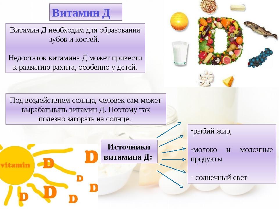 рыбий жир, молоко и молочные продукты солнечный свет Витамин Д Витамин Д необ...