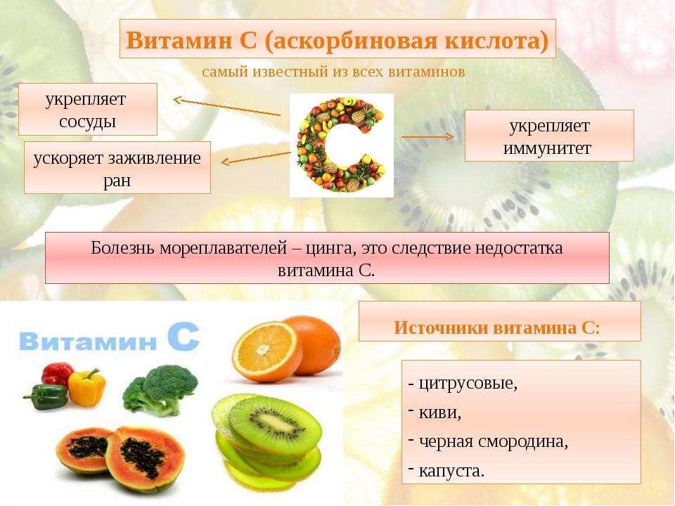 - цитрусовые, киви, черная смородина, капуста. Витамин С (аскорбиновая кислот...