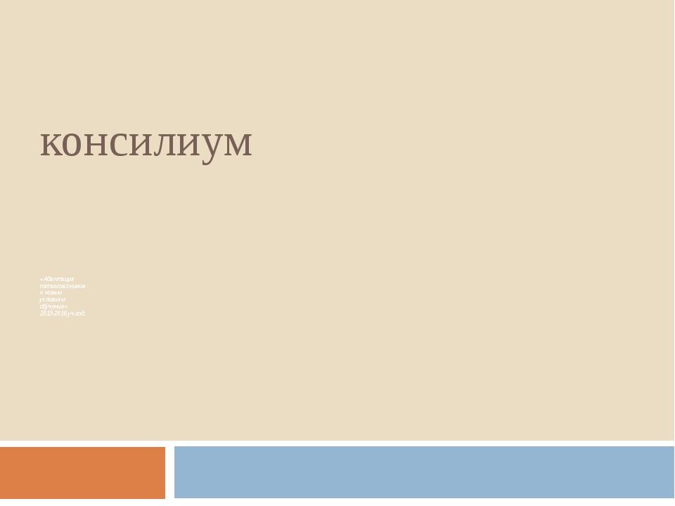 консилиум «Адаптация пятиклассников к новым условиям обучения» 2015-2016 уч.г...