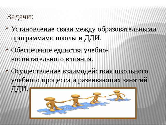 Задачи: Установление связи между образовательными программами школы и ДДИ. Об...