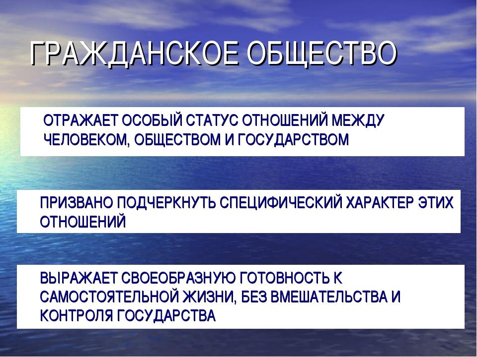 ГРАЖДАНСКОЕ ОБЩЕСТВО ОТРАЖАЕТ ОСОБЫЙ СТАТУС ОТНОШЕНИЙ МЕЖДУ ЧЕЛОВЕКОМ, ОБЩЕС...