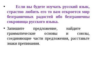 Если вы будете изучать русский язык, страстно любить его то вам откроется ми