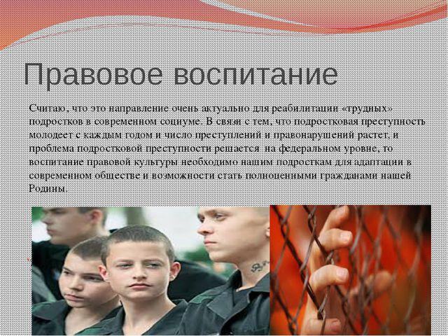 Правовое воспитание Считаю,что данное направление актуально для реабилитации...