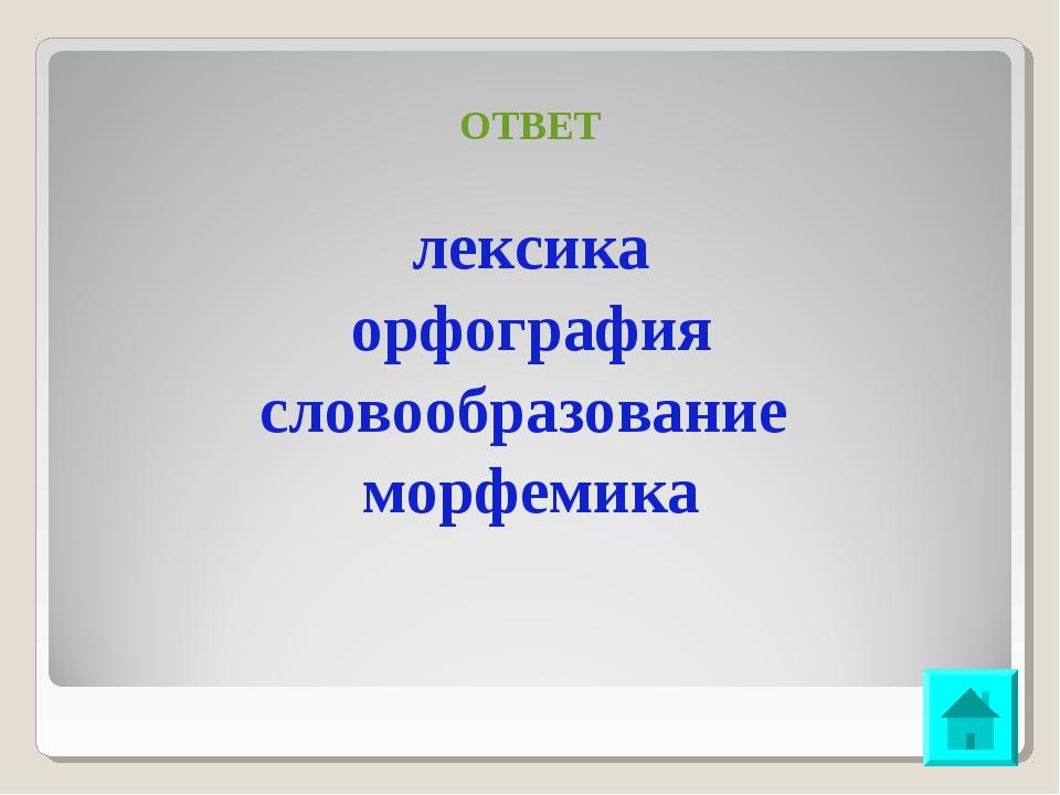 ОТВЕТ лексика орфография словообразование морфемика