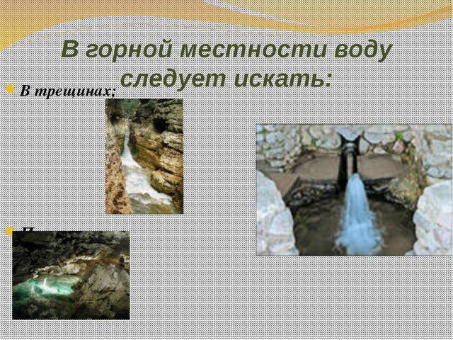 В горной местности воду следует искать: В трещинах; Пещерах; Родниках.