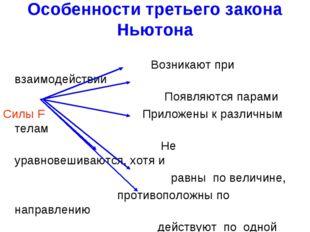 Особенности третьего закона Ньютона Возникают при взаимодействии Появляются п