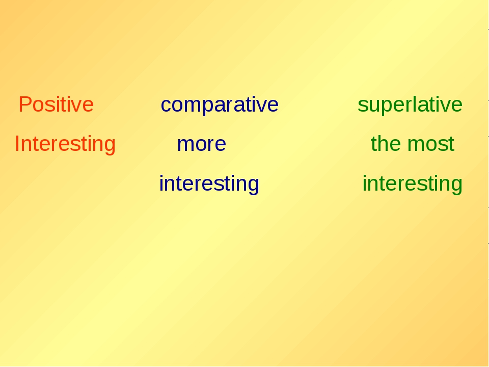 Positive comparative superlative Interesting more the most interesting intеr...