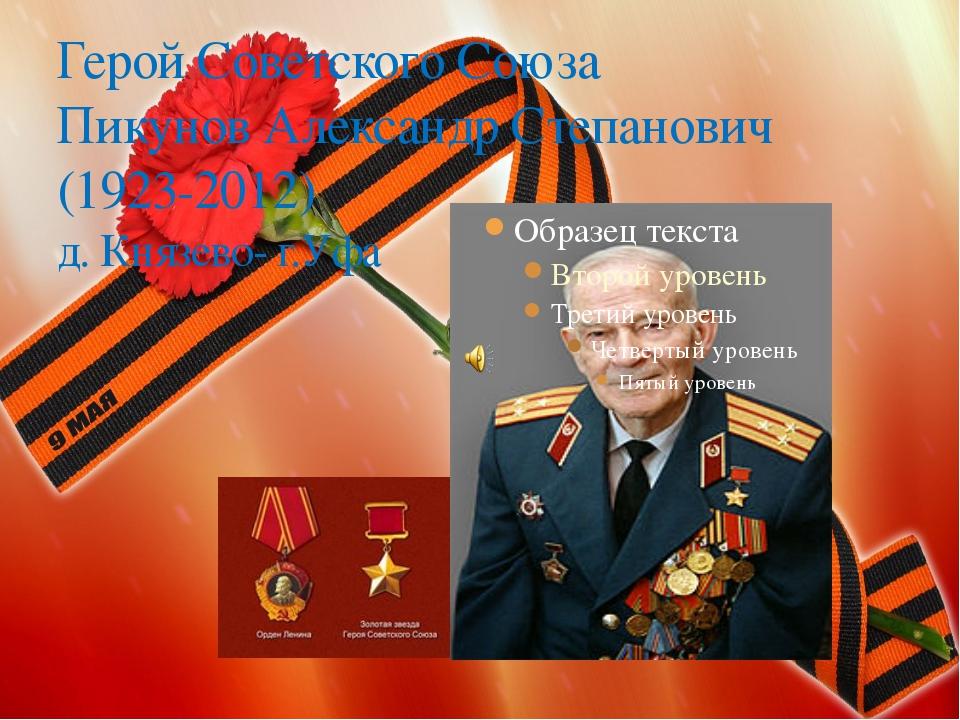 Герой Советского Союза Пикунов Александр Степанович (1923-2012) д. Князево- г...