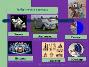 Геолог Нахождение в природе Выберите роль в проекте Химик Физические свойства