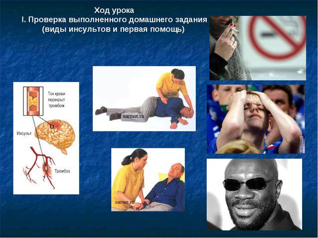 Ход урока І. Проверка выполненного домашнего задания (виды инсультов и первая...