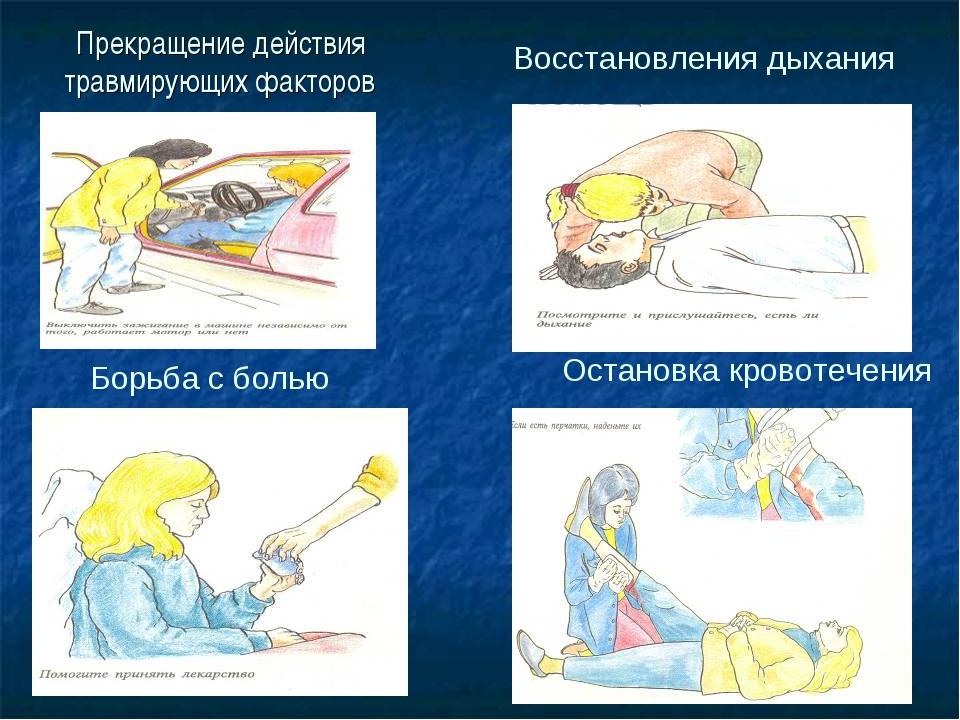 Прекращение действия травмирующих факторов Восстановления дыхания Борьба с бо...