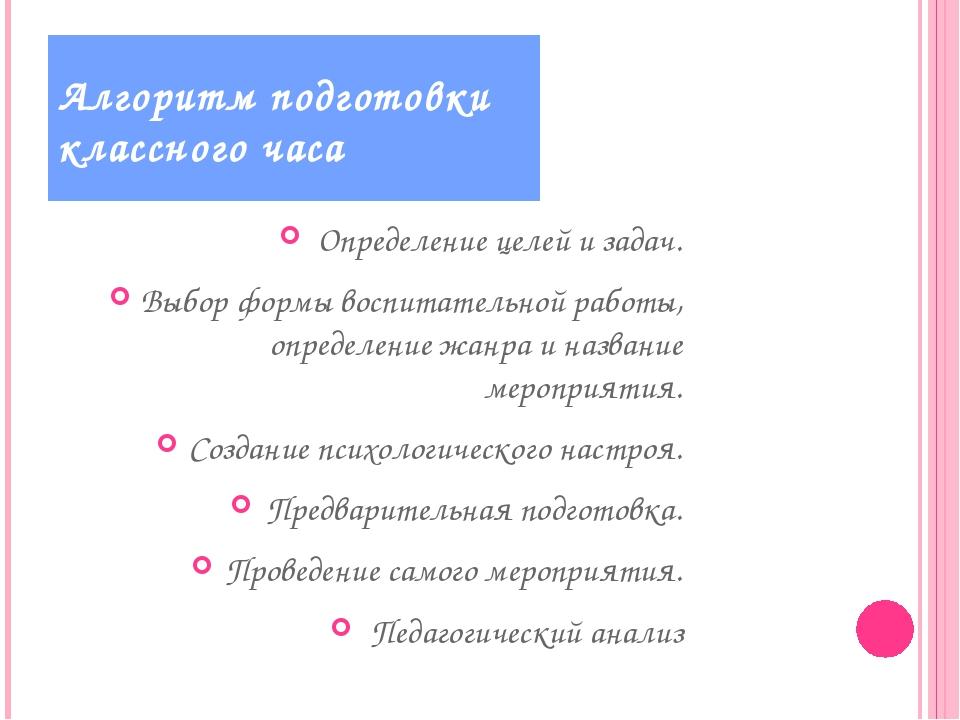Определение целей и задач. Выбор формы воспитательной работы, определение жан...